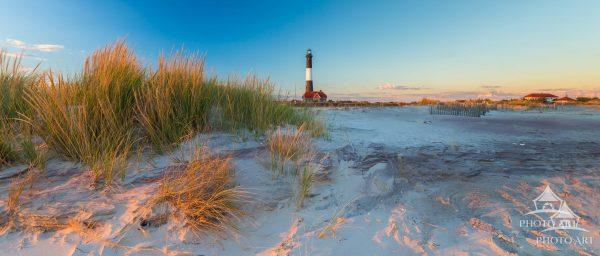 Fire Island Light thru the Grass Panorama