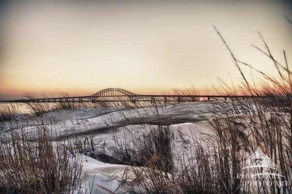 After the blizzard of December, 2010, the dunes at Captree State Park are covered with snow. The