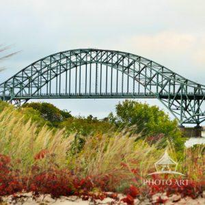 Early Fall colors in the dunes beautifully frame the Captree Bridge as it spans over the Great South