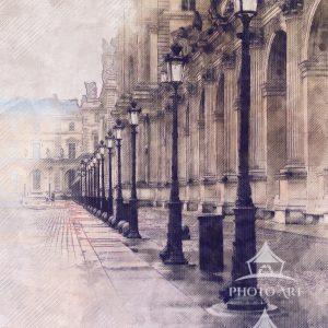 Photography of the lamp posts along the perimeter of the Louvre in Paris. The old world style of the