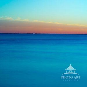 Peaceful view, from the East Islip beach, of the Great South Bay as the sun was setting. Fire Island