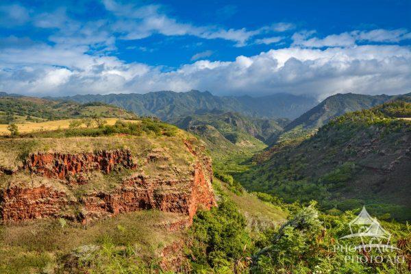 Wide angle view of Waimea Canyon (known as the Grand Canyon of Hawaii) Kauai, Hawaii