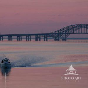 Sunrise with the Robert Moses bridge in view.  Fishing Life, Long Island