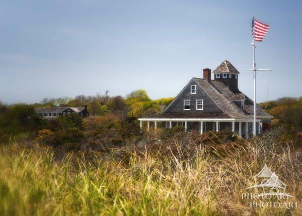 A view of the historic life saving station from the Amagansett Dunes.
