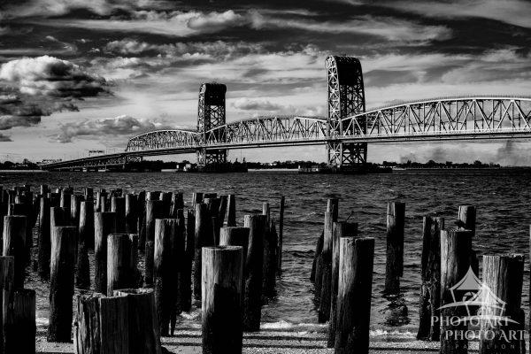 The Marine Parkway Bridge shot from Breezy Point in black and white