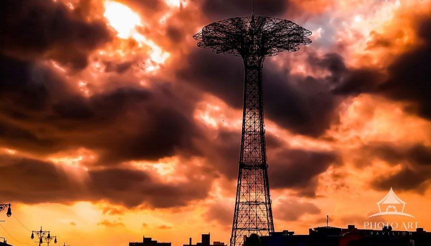 The Sunset over the Parachute Jump in Coney Island, Brooklyn.