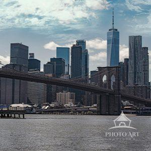 View of the Manhattan skyline from Brooklyn Bridge Park during the voluntary shutdown of New York...