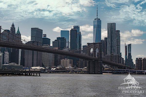 View of the Manhattan skyline from Brooklyn Bridge Park during the voluntary shutdown of New York...