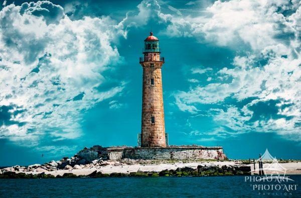Image of Little Gull Island Lighthouse from one of the Viking ships out of Montauk.