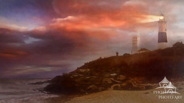 The Montauk Point Lighthouse appears to be lighting the clouds from an approaching storm on fire.