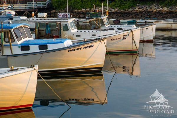 Lobsterboats lined up at anchor in Perkins Cove.
