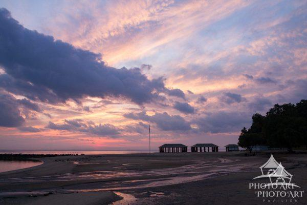 Low tide and the sunset sky at Morgan Park in Glen Cove, beautiful North Shore of Long Island.