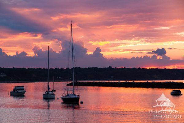 Drama in the sky during beautiful sunset in Glen Cove, North Shore of Long Island.