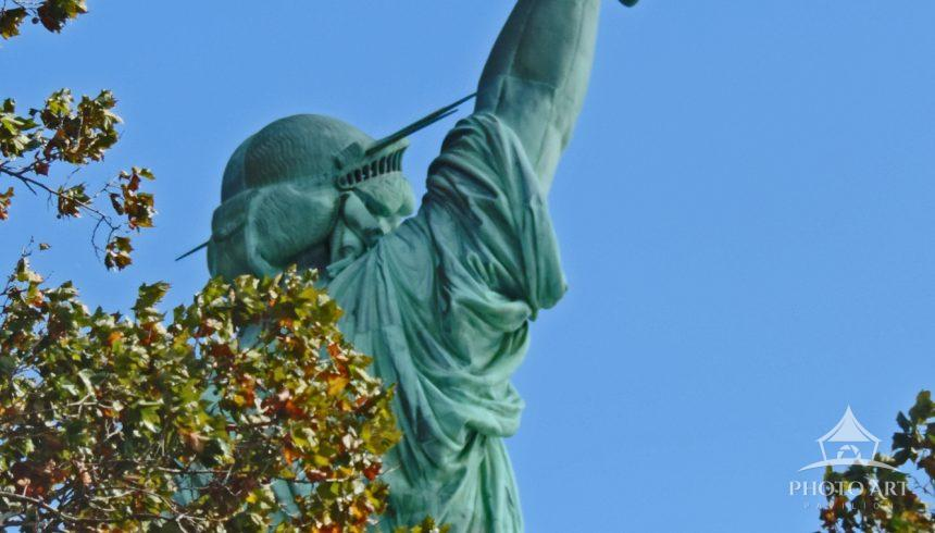 View from below and behind the statue on Liberty Island. This view is rarely seen in photos.