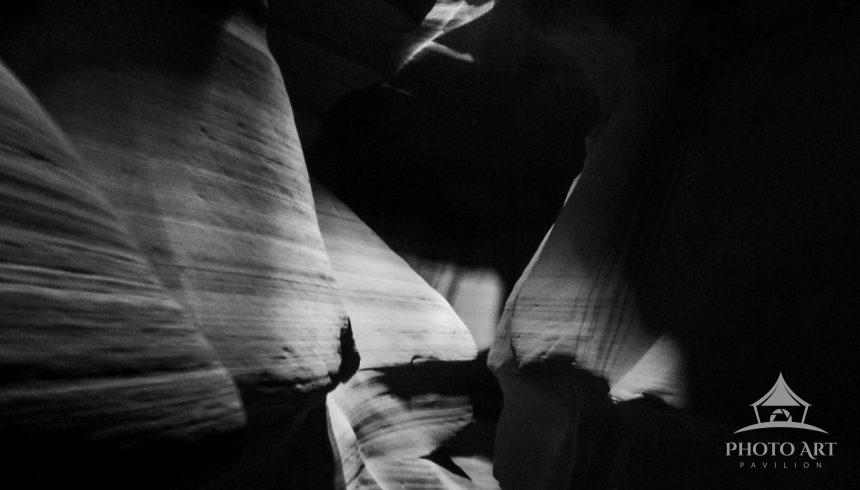 This photo was taken in Upper Antelope Canyon, one of the slot canyons on Navajo land.