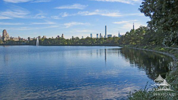 The Manhattan skyline offers a great backdrop for this reservoir in the middle of Central Park.