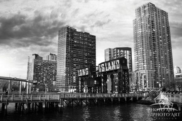 Long Island City down near Gantry Park at dusk. Queens, NYC New York. Black and white photograph.