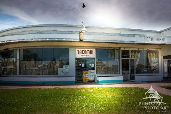 Cool old building and store on the east end of Long Island, in Montauk. Suffolk County, NY. Color
