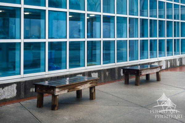 Two benches in front of a local museum on Long Island. Nassau County, NY. Color photograph.