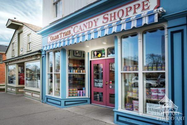 Colorful, old time candy shop in small town, Canada. Color photograph.