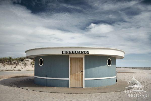Old, retro styled lifeguard shack at Jones Beach, Fire Island, NY. Color photograph.