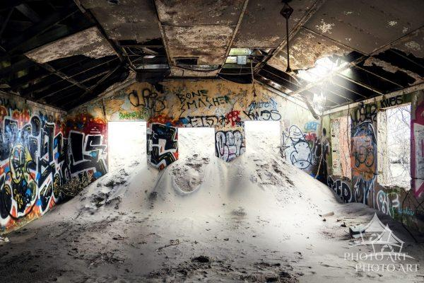 Old abandoned building and graffiti that is part of an old military installation in Queens, NY, and