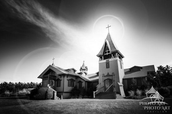 Amazing old church on the east end of Long Island, Suffolk County, NY. Black and white photograph.