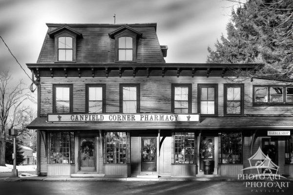 Really cool old pharmacy in small town USA - Woodbury, CT. Black and white photograph with subtle