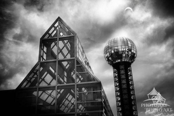 Solar eclipse over the Sunsphere Tower in Knoxville, TN.