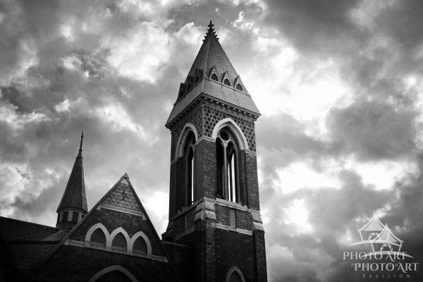 Great old church steeple in southern Vermont. Black and white photograph.