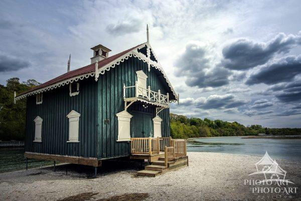 Old historic building on the beach in Stony Brook, Suffolk County, NY. Color photograph with very