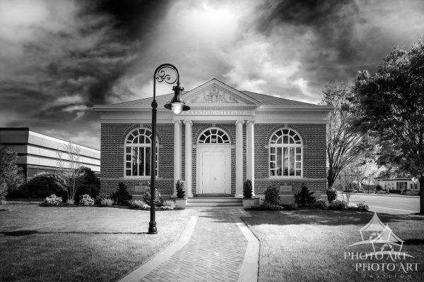 Cool old library building that was moved to this location, in Patchogue, Suffolk County, NY. Black
