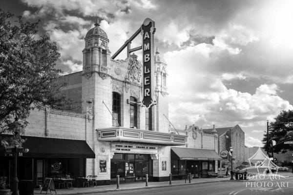 Old theatre along a main street in a small town in New Jersey. Black and white photo with slight
