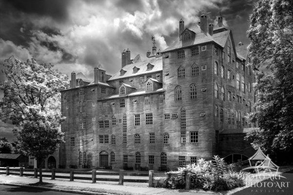 Awesome old castle-type building, and amazing museum in New Jersey. Black and white photography with
