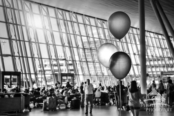 Three balloons at JFK Airport in Queens, NY.
