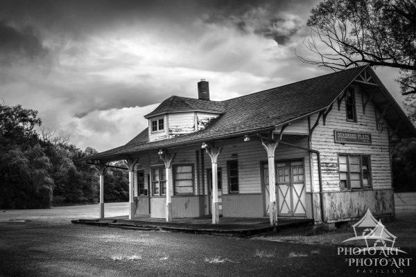 Old train station along the roadside in Pennsylvania.