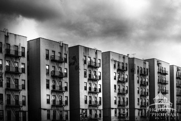 Building lined up in New York City.