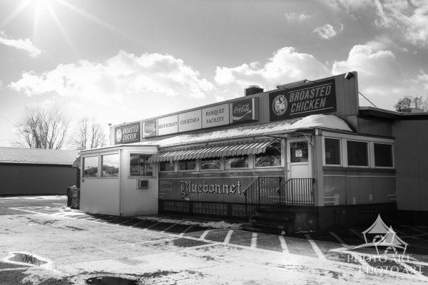 Photo has a very slight texture like a painting. Cool old roadside vintage diner.