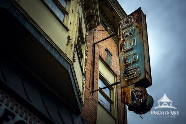 Amazing, old, vintage drugstore sign on a building that used to be an old Pharmacy in Lambertville,