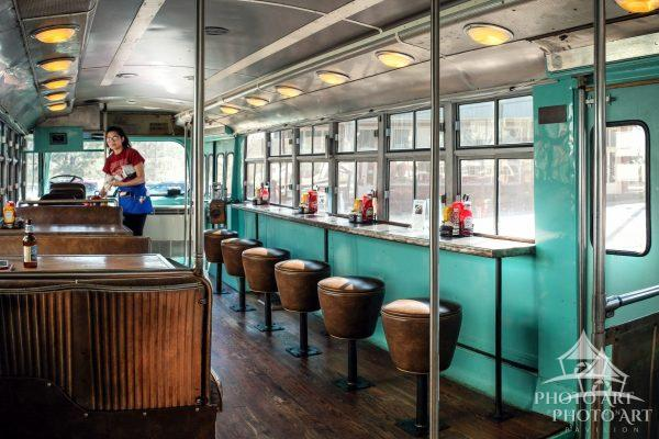 The coolest combination of old transit bus and restaurant meet to become a tasty burger joint called
