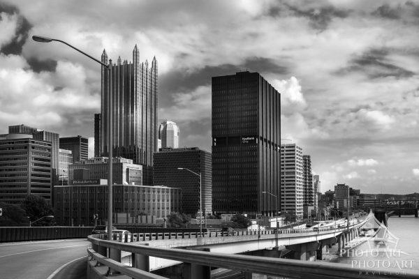 On the outskirts of Pittsburgh, Pennsylvania showing an area of the skyline of the city. Black and