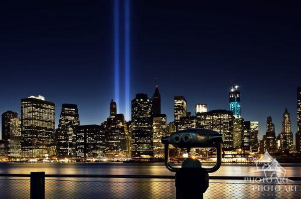 Taken on September 11, 2012 - a photo of the WTC Tribute in Light, including the freedom tower (WTC