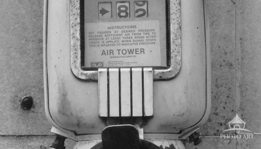 Vintage air pump used by pilots to put air in the tires before flying out to their next destination.