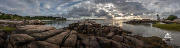 Panoramic view of the Wignam point including the Annisquam Lighthouse in Gloucester, Massachusetts.