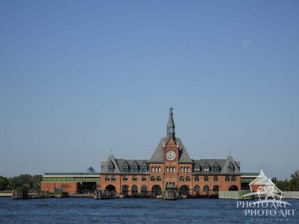 The Central Railroad of New Jersey Terminal building on the Hudson River.
