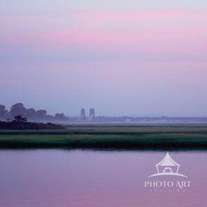 A pre-sunrise view of Captree Basin on a misty morning.