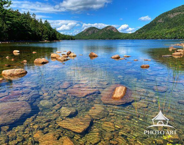 A perfect, peaceful afternoon at Jordan Pond in Acadia National Park in Desert Island, Maine.