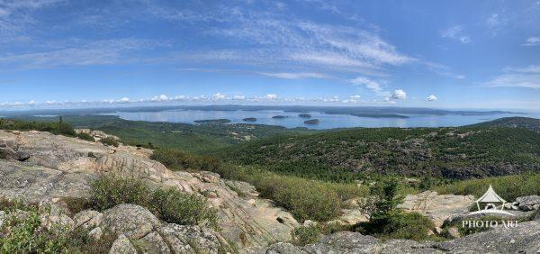 The view of Bar Harbor from the top of Cadillac Mountain in Acadia National Park in Mount Desert