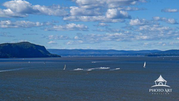 This image was taken from the top of the Mario Cuomo Bridge looking north at the Hudson River.