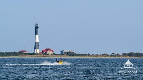The Fire Island Lighthouse, on the western end of Fire Island and just to the east of Robert Moses